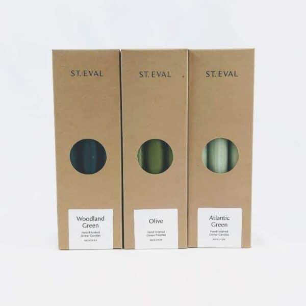 st eval green candle collection, dark green candles, medium green candles, and light green candles and olive green candles, made in cornwall candles