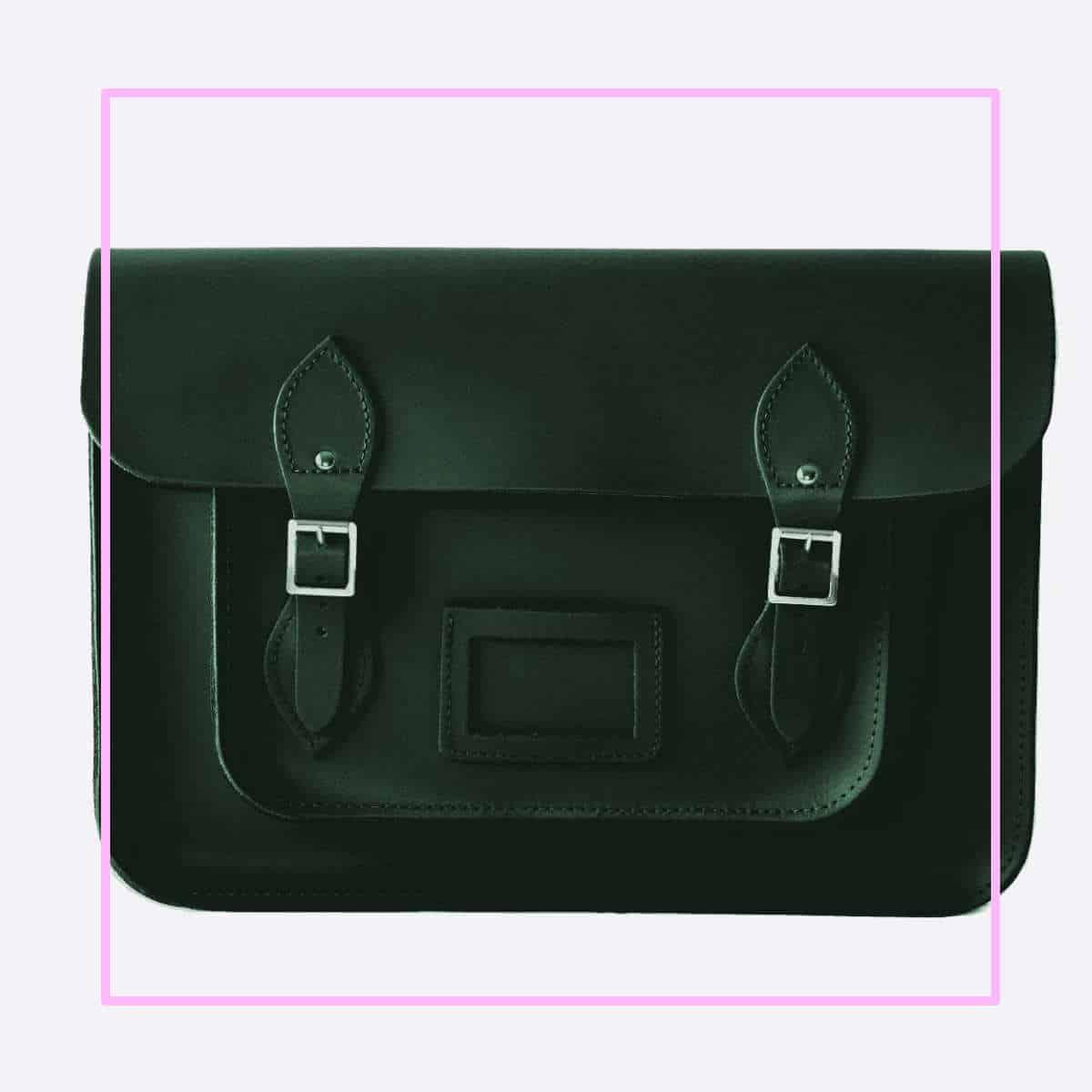 green satchel pink frame