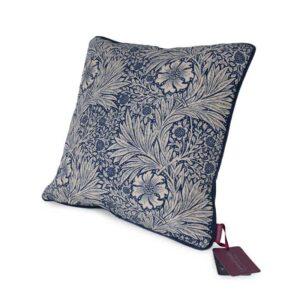william morris marigold indigo fabric cushion from green and heath british wool made in UK