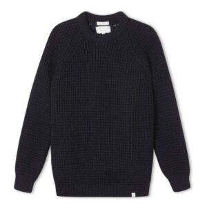 peregrine clothing waffle navy british wool jumper, crew neck jumper