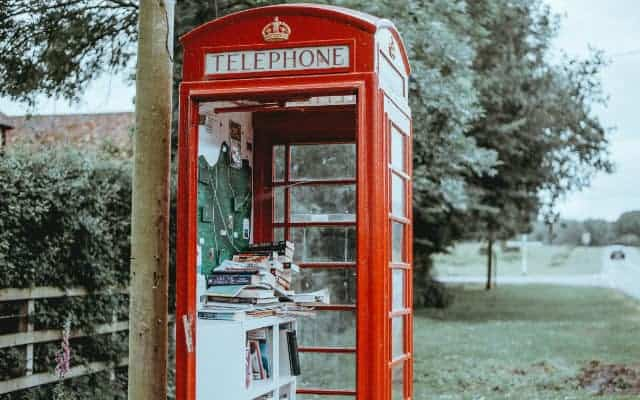 Red telephone box as a library