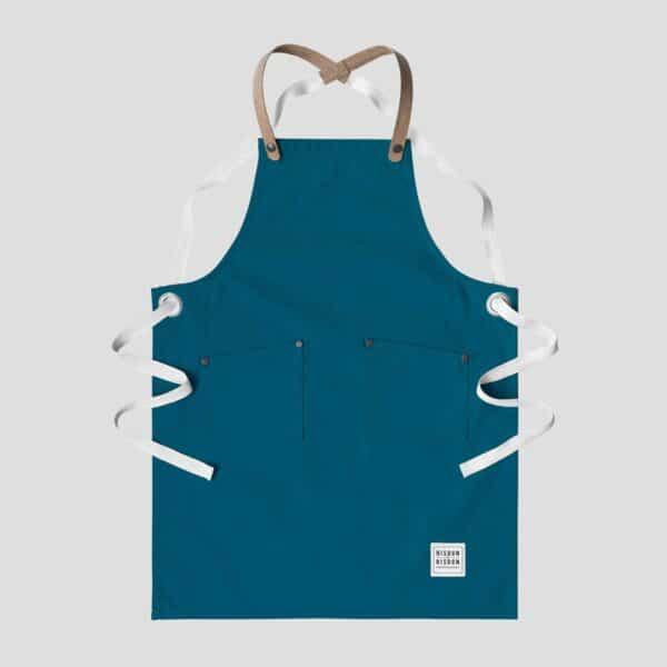 rsidon and risdon teal children's apron, kids teal apron in teal canvas craft apron for children with cork straps