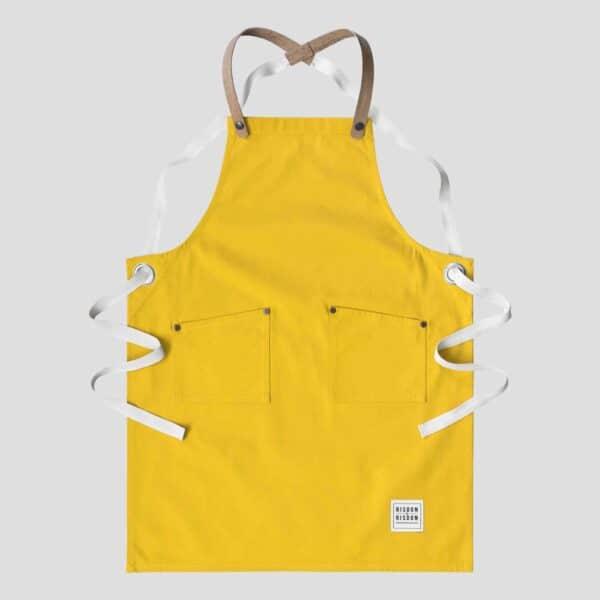 rsidon and risdon yellow children's apron, kids yellow apron in yellow canvas craft apron for children with cork straps