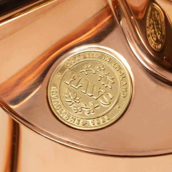 Haws watering cans seal of approval stamp on copper watering can